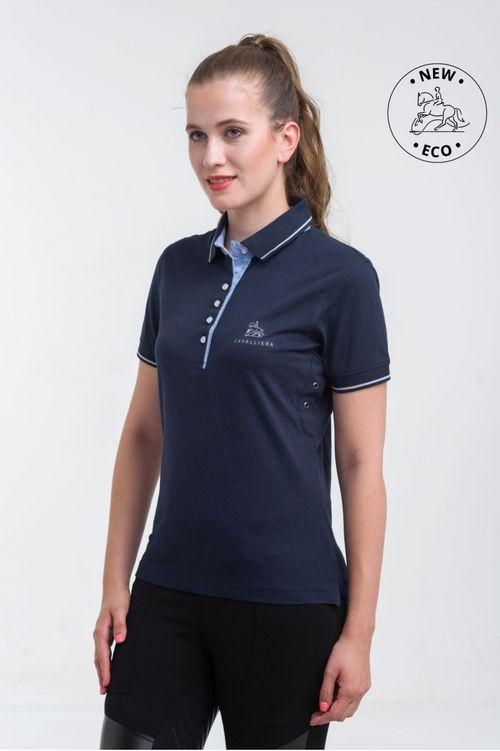 Cavalliera Women's London Cotton Polo Shirt - Navy Blue