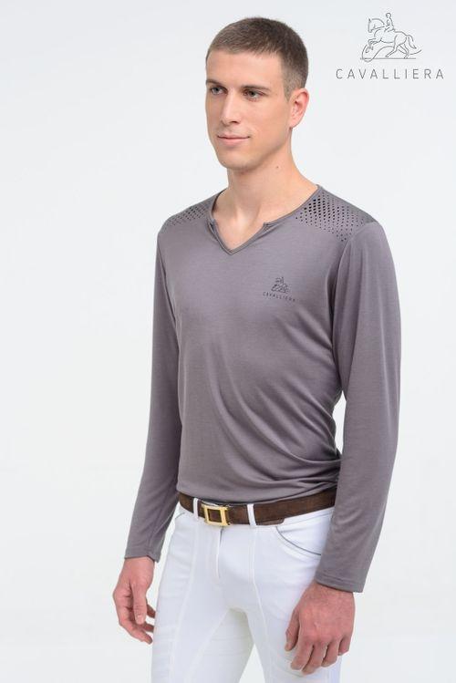 Cavalliera Men's Style Long Sleeve Tee Shirt - Grey