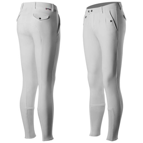 Horze Men's Grand Front Pleat Grand Prix Full Seat Breeches - White