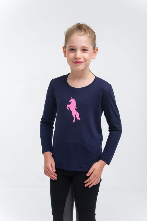Cavalliera Kids' Just Pink Long Sleeve Riding Shirt - Navy Blue