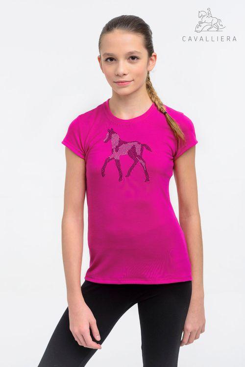 Cavalliera Kids' Sparkle Short Sleeve Shirt - Pink