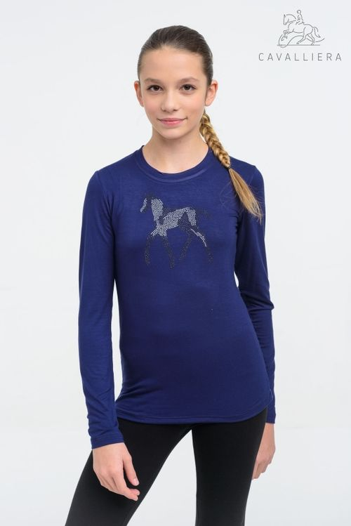 Cavalliera Kids' Sparkle Long Sleeve Shirt - Navy Blue