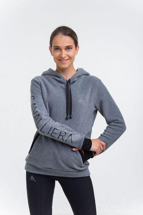 Cavalliera Women's Velvet Fleece Hoodie - Grey/Black