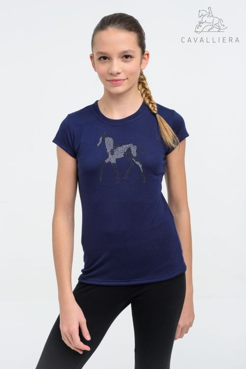 Cavalliera Kids' Sparkle Short Sleeve Shirt - Navy Blue