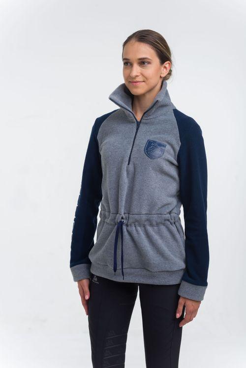 Cavalliera Women's Velvet Fleece Turtle Neck - Navy Blue/Grey