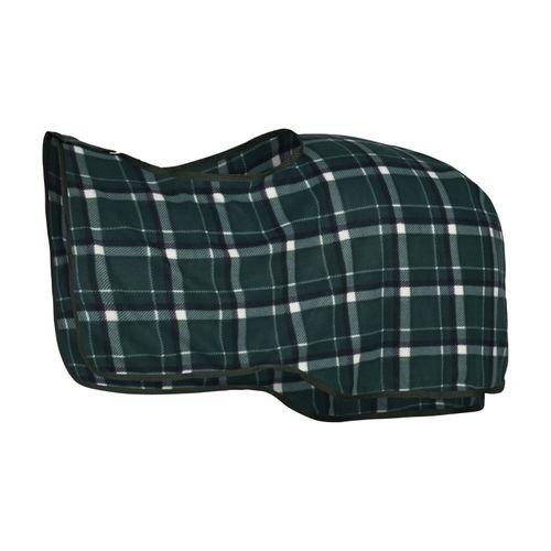 Horze Checked Fleece Riding Blanket - Green/Dark Blue