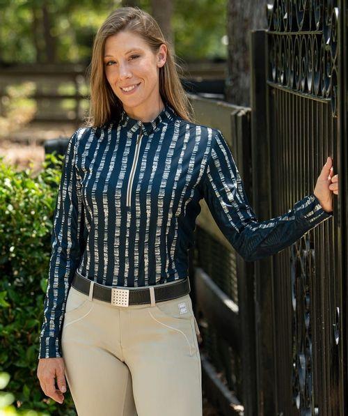 FITS Women's Summer Long Sleeve Tech Shirt - Navy Lattice