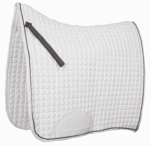 Roma Swallow Tail Competition Dressage Saddle Pad - White/Black