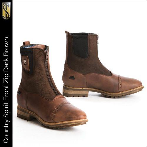 Tredstep Spirit Front Zip Short Country Boot - Dark Brown