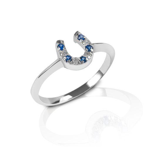 Kelly Herd Horseshoe Ring - Sterling Silver/Blue