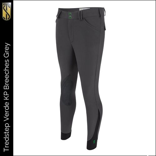 Tredstep Men's Verde Knee Patches Breeches - Charcoal Grey