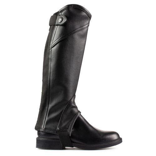 Horze Kids' Soft Leather Half Chaps - Black