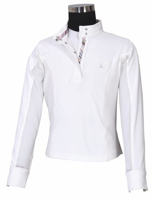 Equine Couture Kids' Cara Long Sleeve Show Shirt - White