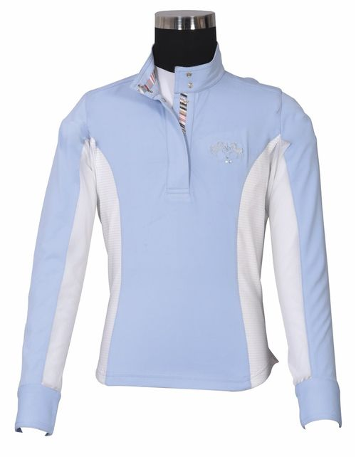 Equine Couture Kids' Cara Long Sleeve Show Shirt - KL Baby Blue