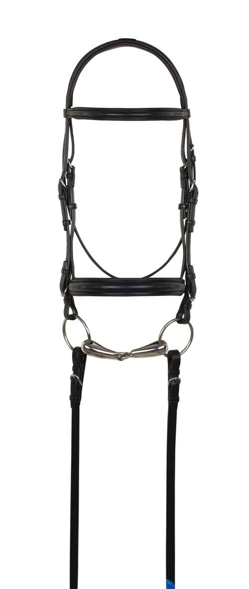 Aramas Plain Raised Padded 1in Wide Nose Dressage Bridle w/Leather Reins - Black/Black