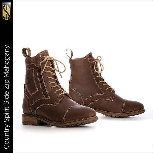 Tredstep Spirit Side Zip Short Country Boot - Mahogany