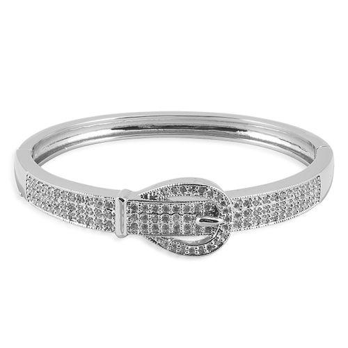 Kelly Herd Pave Buckle Cuff Bracelet - Sterling Silver/Clear