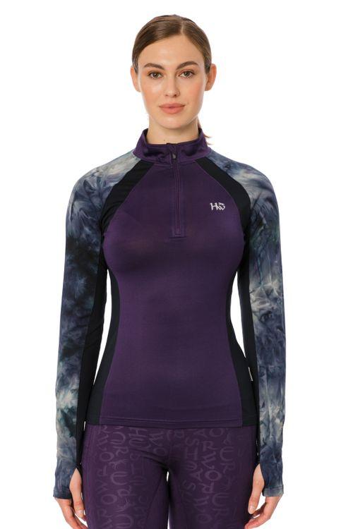 Horseware Women's Aveen Half Zip Long Sleeve Tech Top - Green/Navy Tie Dye