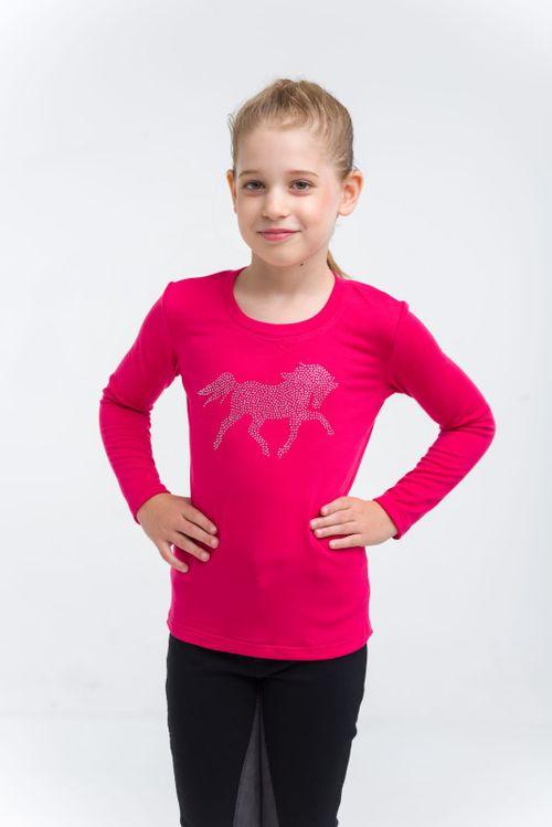 Cavalliera Kids' Crystal Foal Long Sleeve Top - Pink