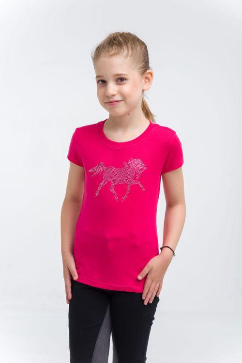 Cavalliera Kids' Crystal Foal Short Sleeve Top - Pink