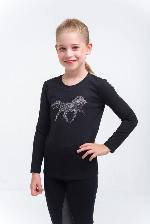 Cavalliera Kids' Crystal Foal Long Sleeve Top - Black