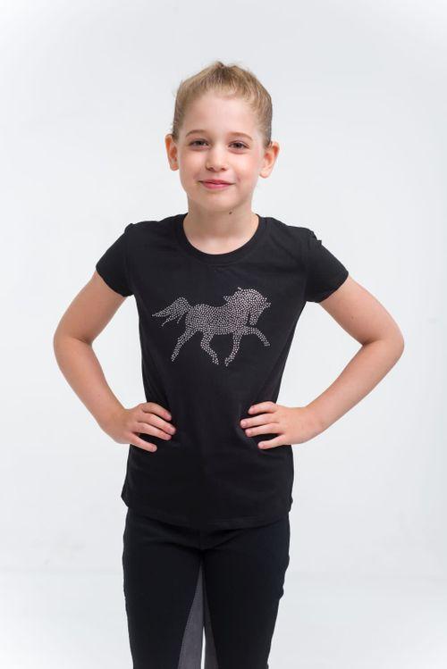 Cavalliera Kids' Crystal Foal Short Sleeve Top - Black