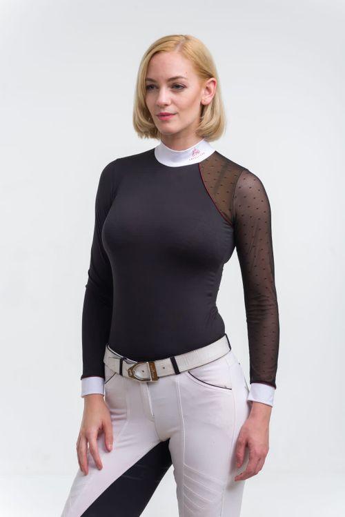 Cavalliera Women's Modern Dame Long Sleeve Show Shirt - Black/Black/Bordeaux