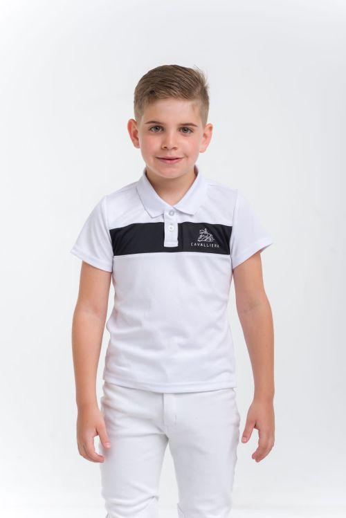 Cavalliera Kids' Logan Short Sleeve Polo Shirt - White/Black