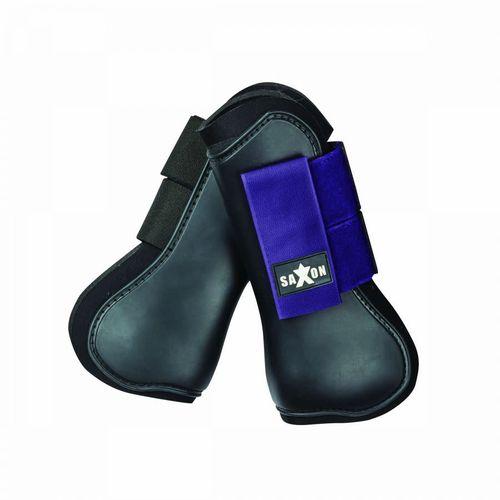 Saxon Open Front Boots - Black/Purple