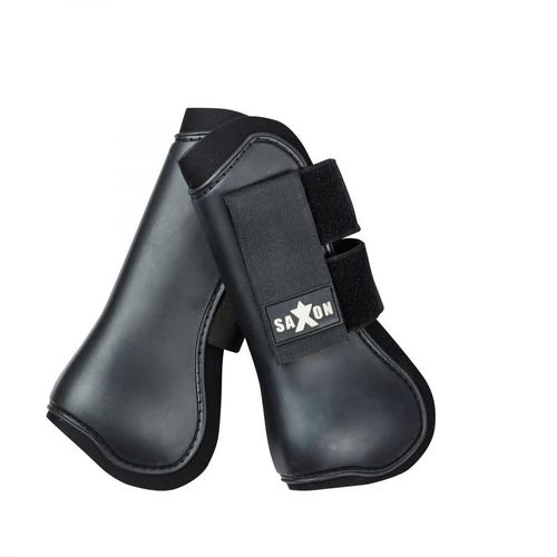 Saxon Open Front Boots - Black/Black