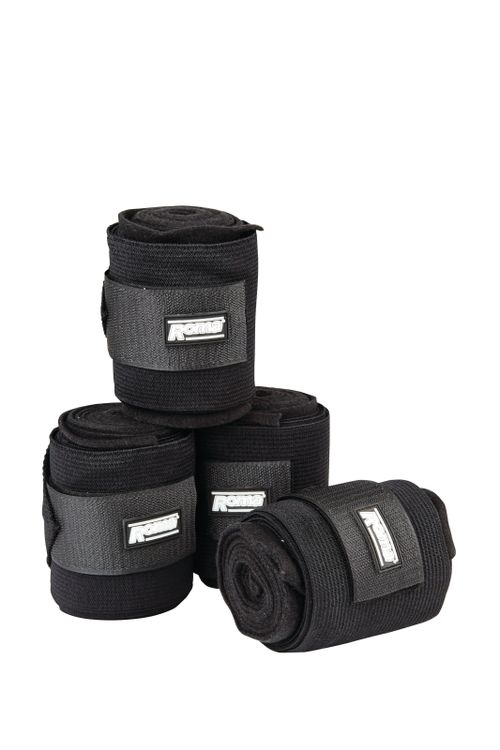 Roma Elastic Fleece Combi Bandage - Black