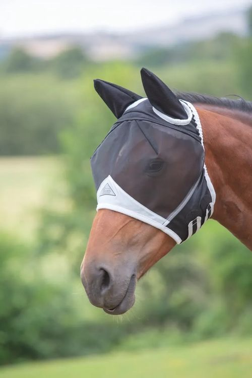 Shires Fine Mesh Fly Mask w/Ears - Black