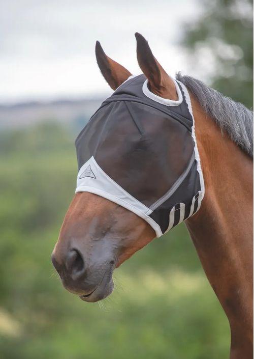 Shires Fine Mesh Fly Mask w/Ear Hole - Black