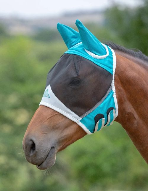 Shires Fine Mesh Fly Mask w/Ears - Teal