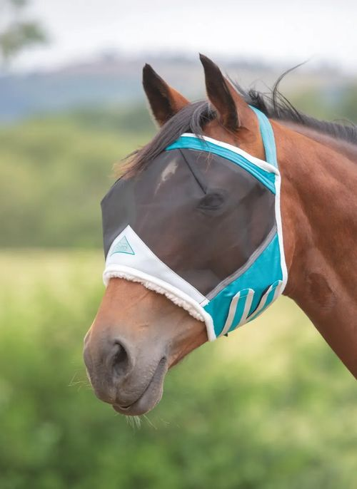 Shires Fine Mesh Earless Fly Mask - Teal