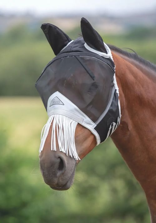 Shires Fine Mesh Fly Mask w/Nose Fringe - Black