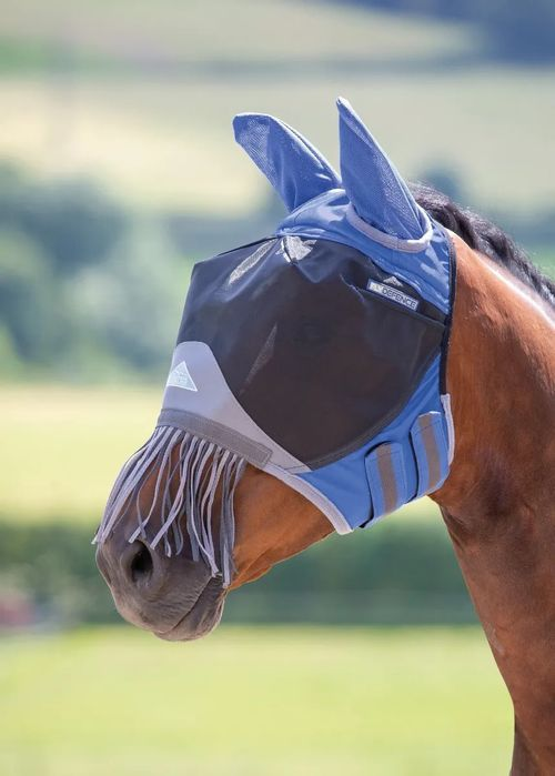 Shires Deluxe Fly Mask w/Nose Fringe - Royal Blue
