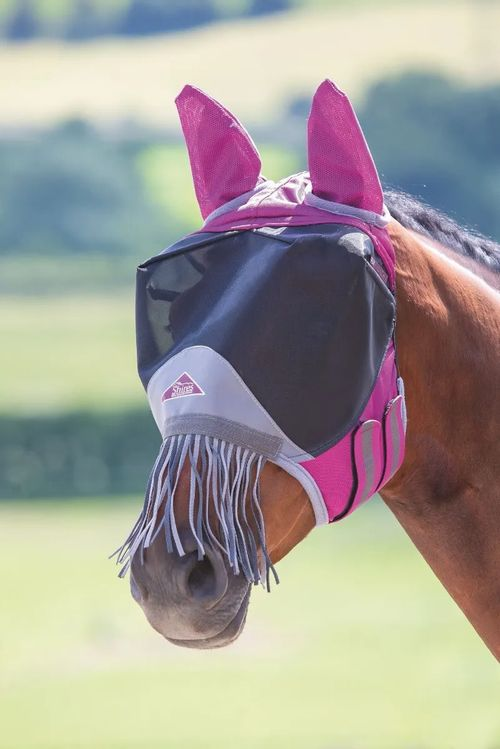 Shires Deluxe Fly Mask w/Nose Fringe - Burgundy