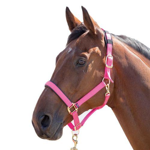 Shires Topaz Leather Breakaway Nylon Halter - Pink