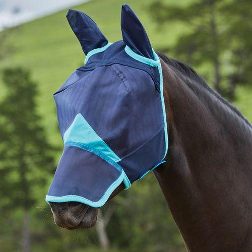 Weatherbeeta Comfitec Fine Mesh Mask w/Ears & Nose - Navy/Turquoise