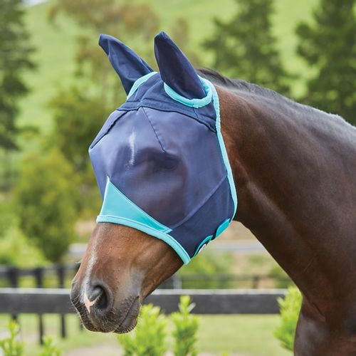 Weatherbeeta Comfitec Fine Mesh Mask w/Ears - Navy/Turquoise