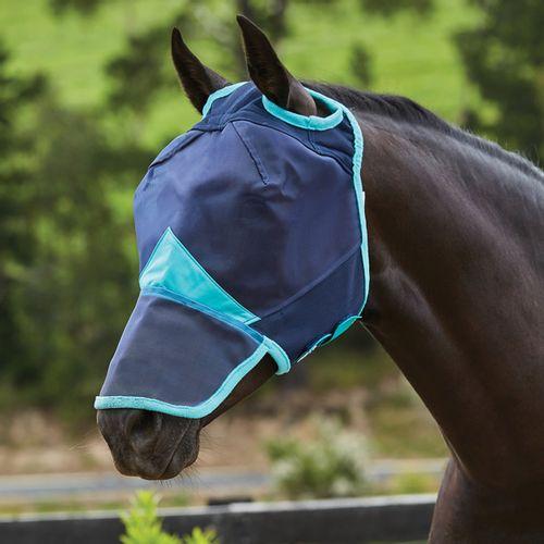 Weatherbeeta Comfitec Fine Mesh Mask w/Nose - Navy/Turquoise