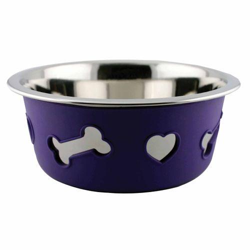 Weatherbeeta Non-Slip Stainless Steel Silicone Bone Dog Bowl - Dark Purple