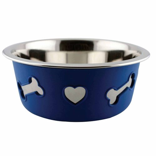 Weatherbeeta Non-Slip Stainless Steel Silicone Bone Dog Bowl - Blue
