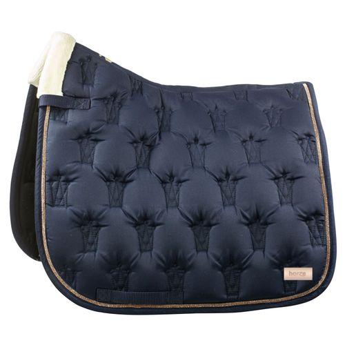 Horze Fairfax Dressage Saddle Pad - Navy Dark Blue/Champagne Brown