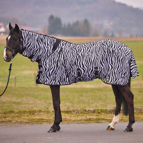 Horze Combo Neck Fly Sheet w/Belly Wrap - Zebra Print