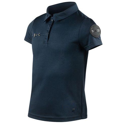 Horze Kids' Denise Functional Polo Shirt - Navy Dark Blue