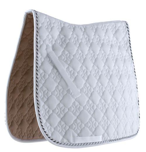 Roma Ecole Flower Diamond Quilt Dressage Saddle Pad - White/Black/Silver
