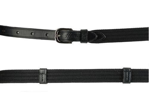 Harmohn Kraft Web Leather Strap Belt 5/8in - Black