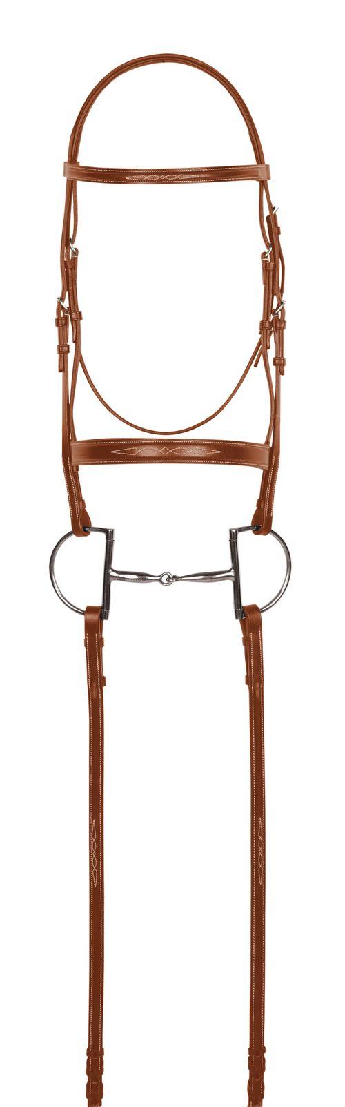 Aramas Fancy Mild Square Raised Bridle w/Fancy Lace Reins - Chestnut